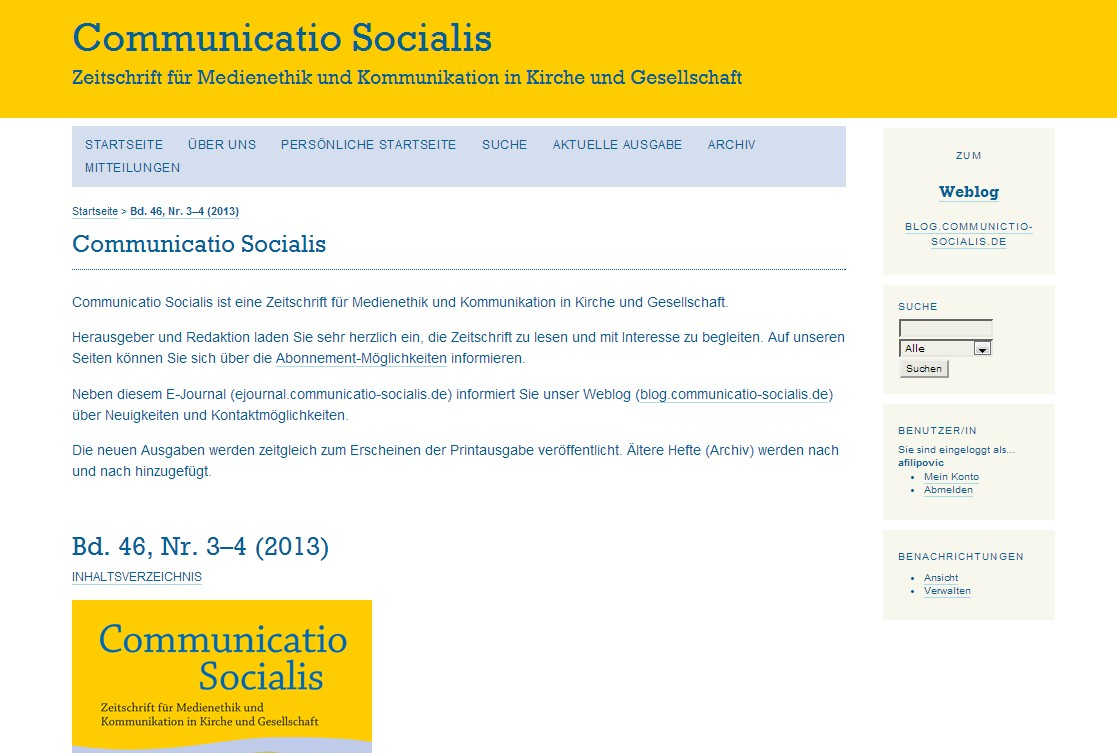 E-Journal von Communicatio Socialis ist online