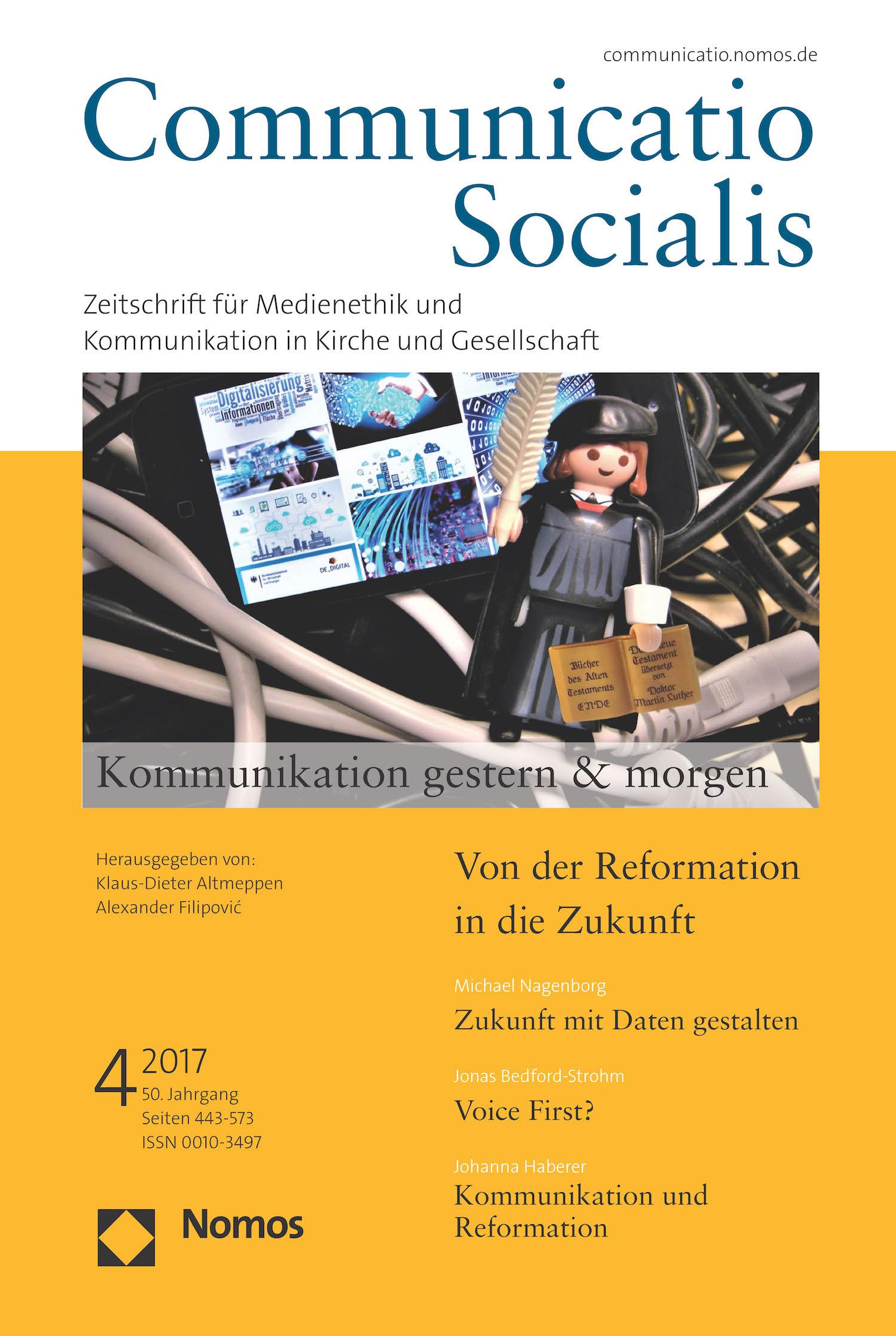 """Neue Ausgabe 4/2017 von Communicatio Socialis zum Thema """"Kommunikation gestern & morgen"""" erschienen"""