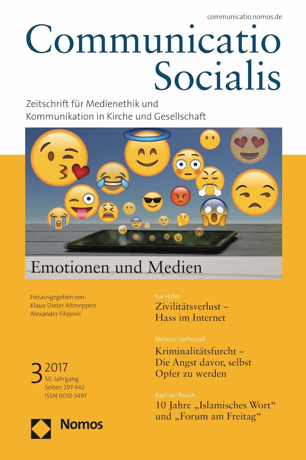 Neue Ausgabe 3/2017 von Communicatio Socialis zum Thema Medien und Emotionen erschienen