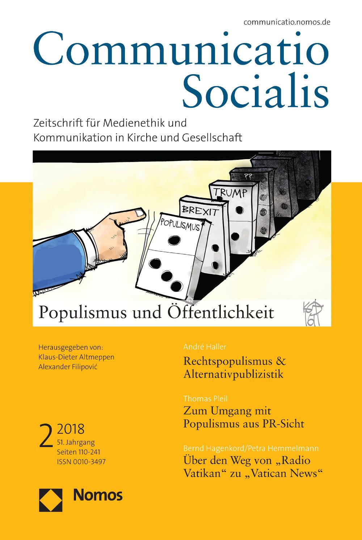 """Neue Ausgabe 2/2018 von Communicatio Socialis zum Thema """"Populismus und Öffentlichkeit"""" erschienen"""