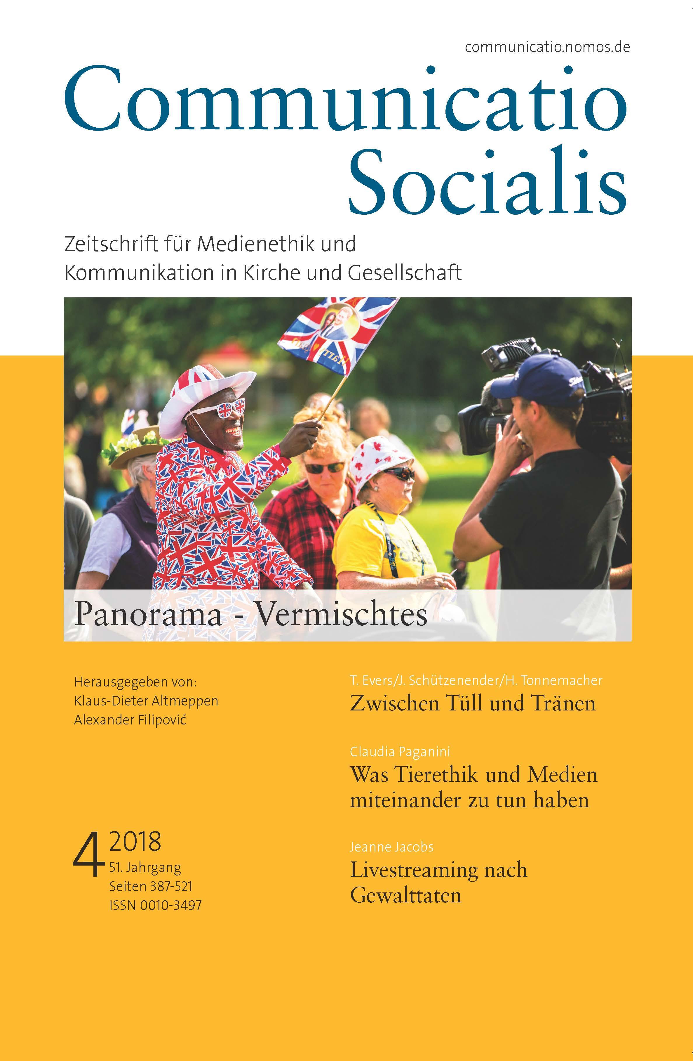 """Neue Ausgabe 4/2018 von Communicatio Socialis zum Thema """"Panorama – Vermischtes"""" erschienen"""